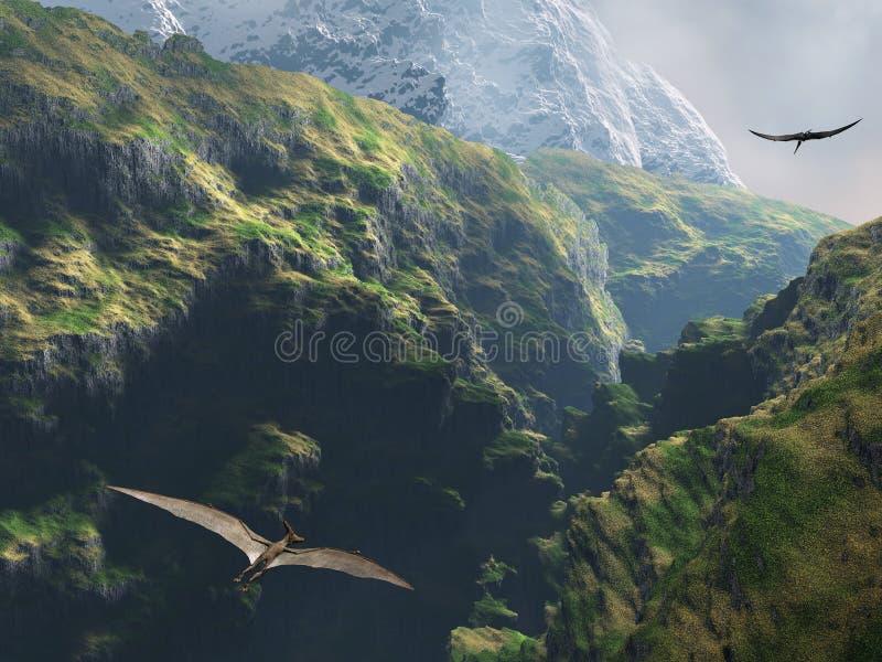 Pteranodon die door de canion vliegt