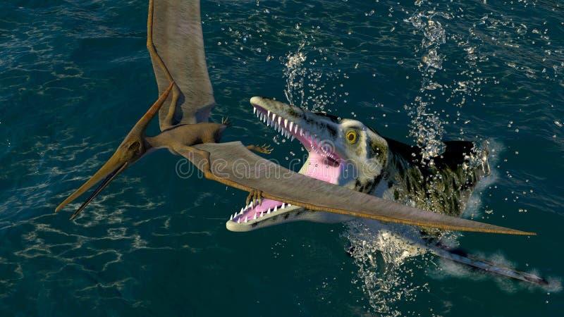 Pteranodon och en rov- havsdinosaurie vektor illustrationer