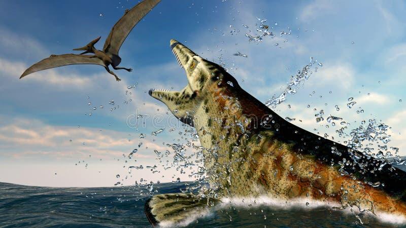 Pteranodon und ein räuberischer Seedinosaurier lizenzfreie abbildung