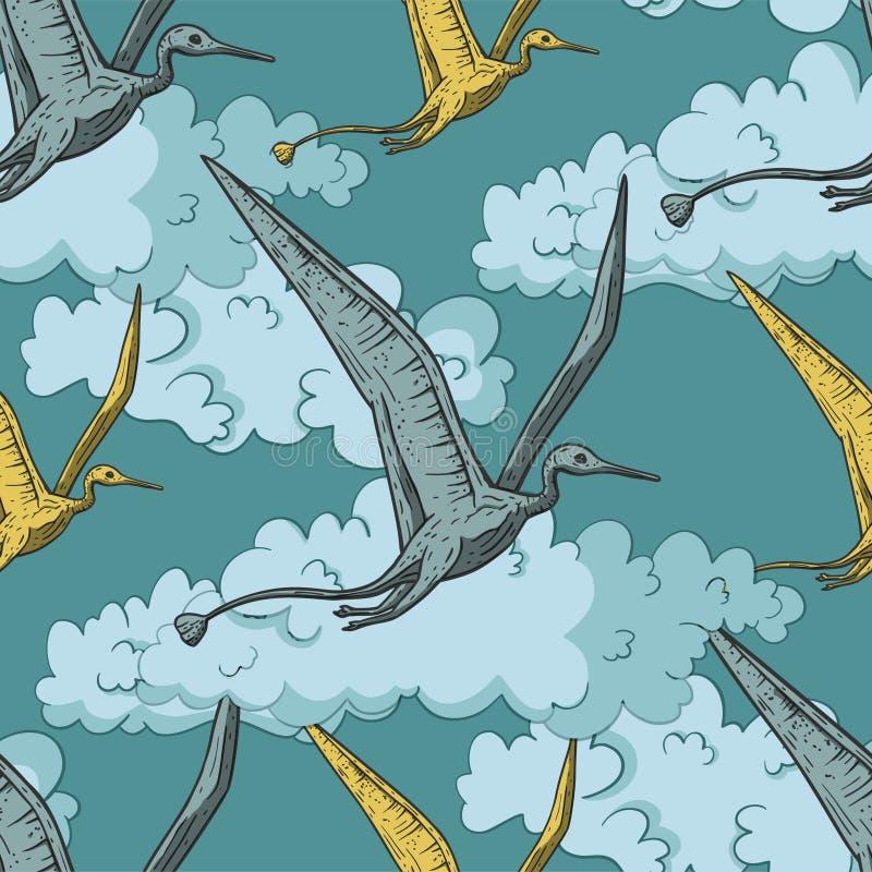 Pteranodondinosaurus in de hemel royalty-vrije illustratie