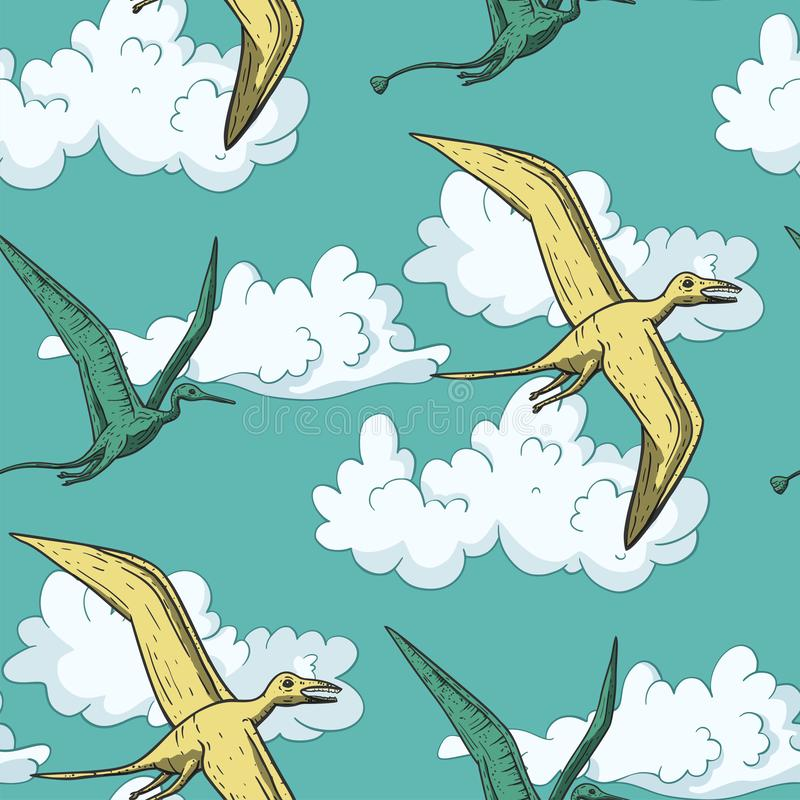 Pteranodondinosaurus in de hemel vector illustratie