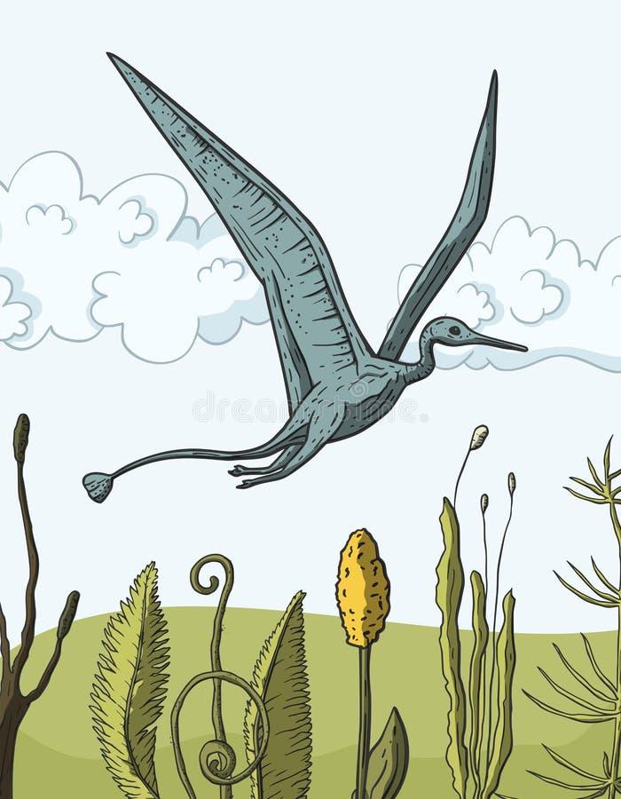 Pteranodondinosaurus in zijn habitat royalty-vrije illustratie