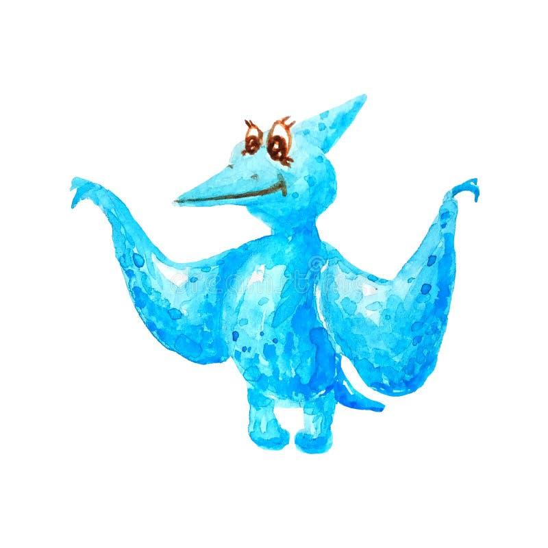 Pterodáctilo azul del dinosaurio con el pico y las alas largos en el fondo blanco aislado en estilo de la acuarela ilustración del vector