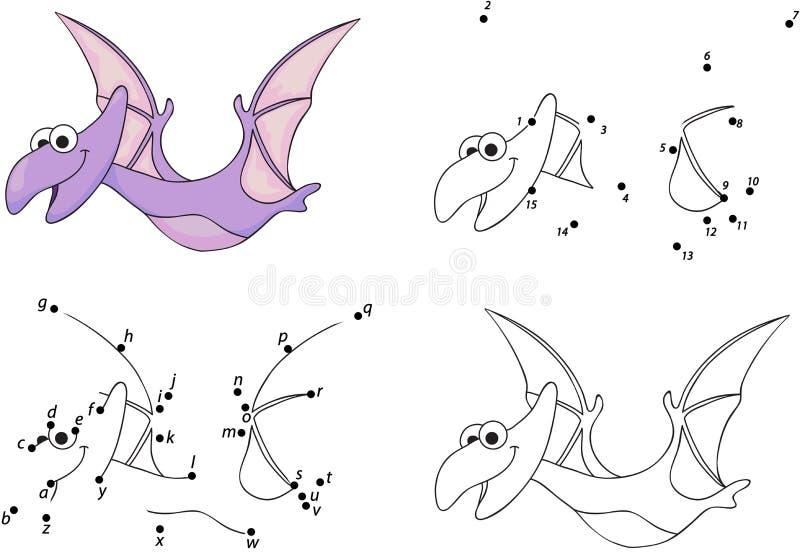 Pterodáctilo de la historieta Libro de colorear y punto para puntear el juego para los niños stock de ilustración