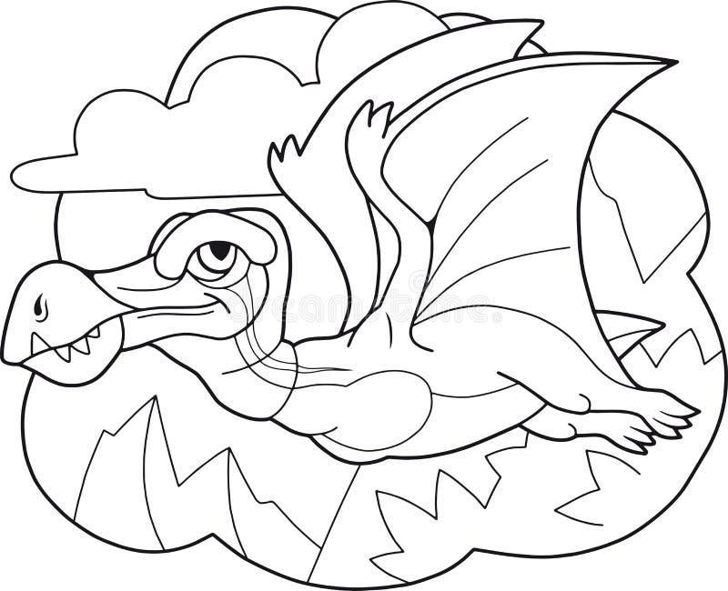 Pterodáctilo prehistórico lindo del dinosaurio, libro de colorear, ejemplo divertido ilustración del vector