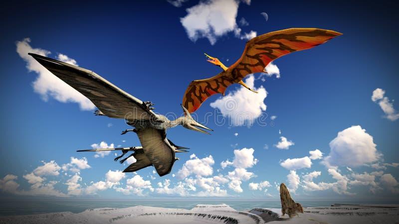 Pterodátilo do voo sobre a ilustração da terra 3d ilustração royalty free