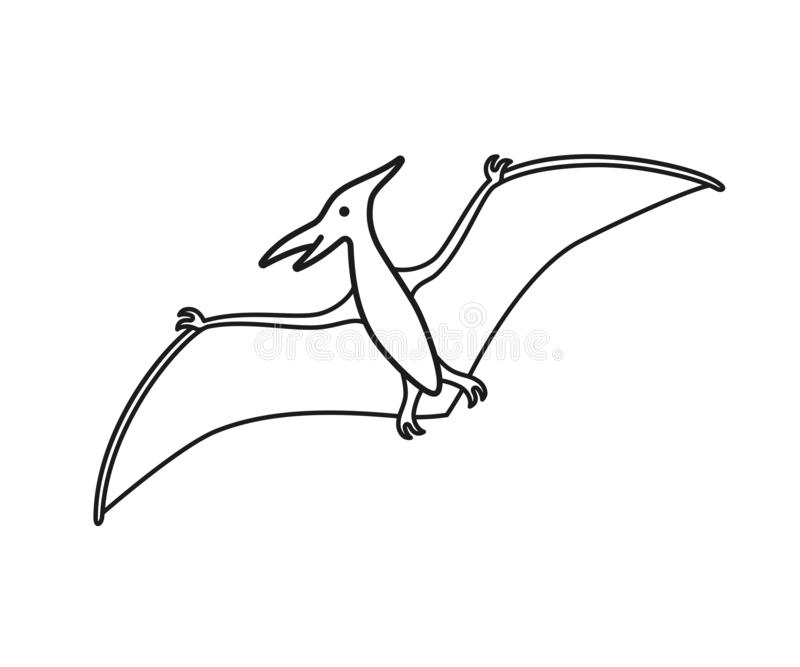 Pterodactyl vector contour silhouette. Pteranodon dinosaur. Pterosaur black contour isolated vector illustration
