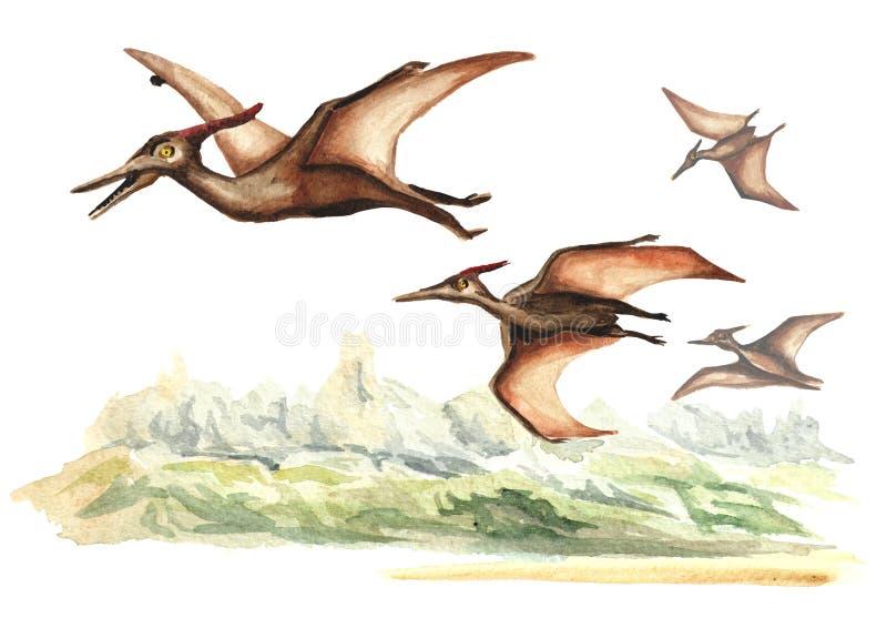 Pterodactylusdinosaurus in voorhistorisch landschap Waterverfhand getrokken die illustratie, op witte achtergrond wordt geïsoleer vector illustratie