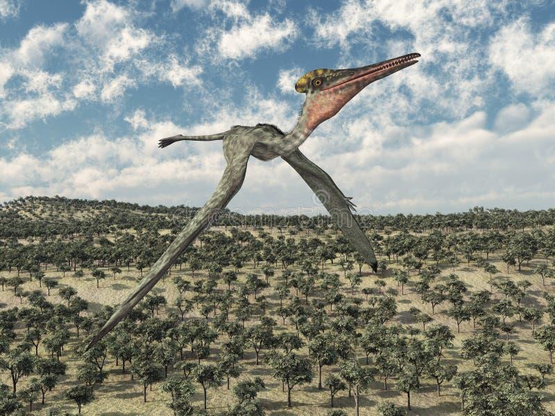 Pterosaur在风景的翼手龙属飞行 皇族释放例证