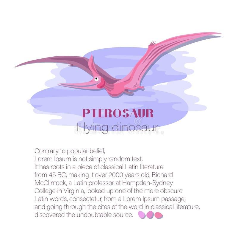 Pterosaur, crescente nas nuvens Dinossauro do voo ilustração do vetor