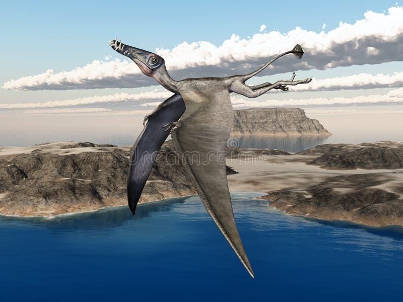 Pterosaur Dorygnathus e paisagem do oceano ilustração stock