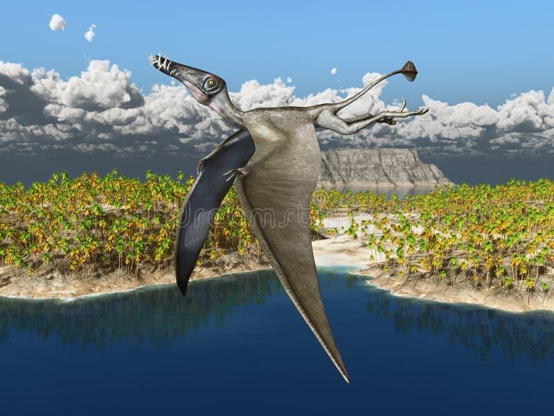 Pterosaur Dorygnathus sobre uma paisagem do oceano ilustração royalty free