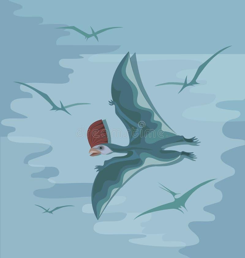 Pterosaur pré-histórico com uma crista vermelha em voo ilustração stock