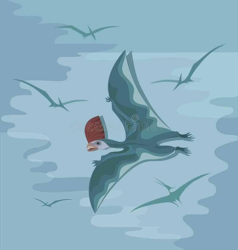 Pterosaur préhistorique avec une crête rouge en vol illustration stock