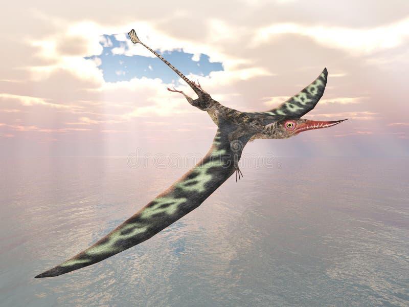Pterosaur Rhamphorhynchus stock de ilustración