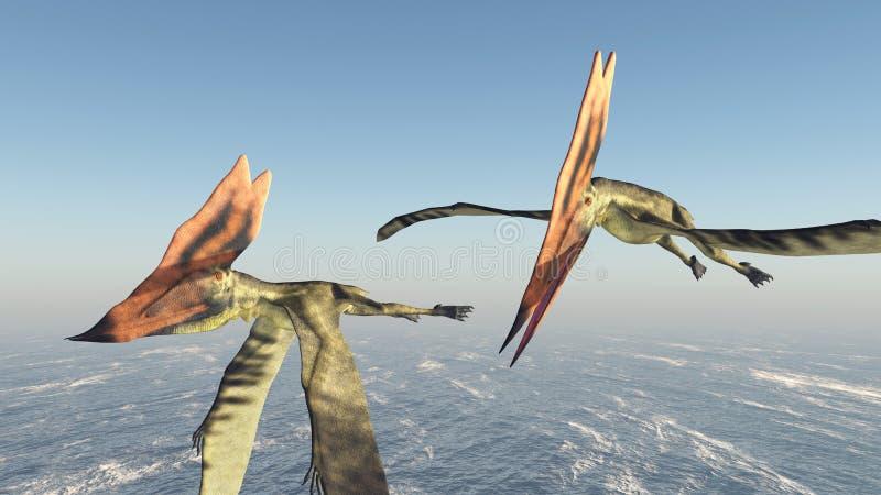 Pterosaur Thalassodromeus sobre o oceano ilustração do vetor