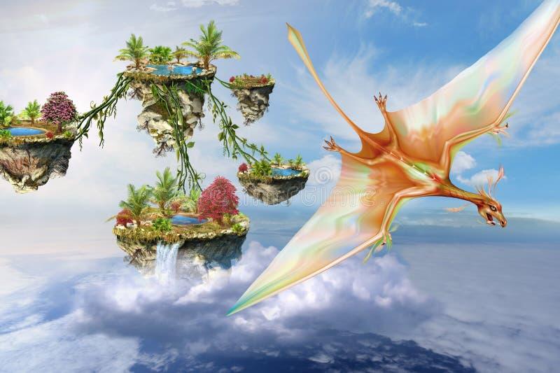Pterosaurs que vuela sobre las islas de la fantasía stock de ilustración