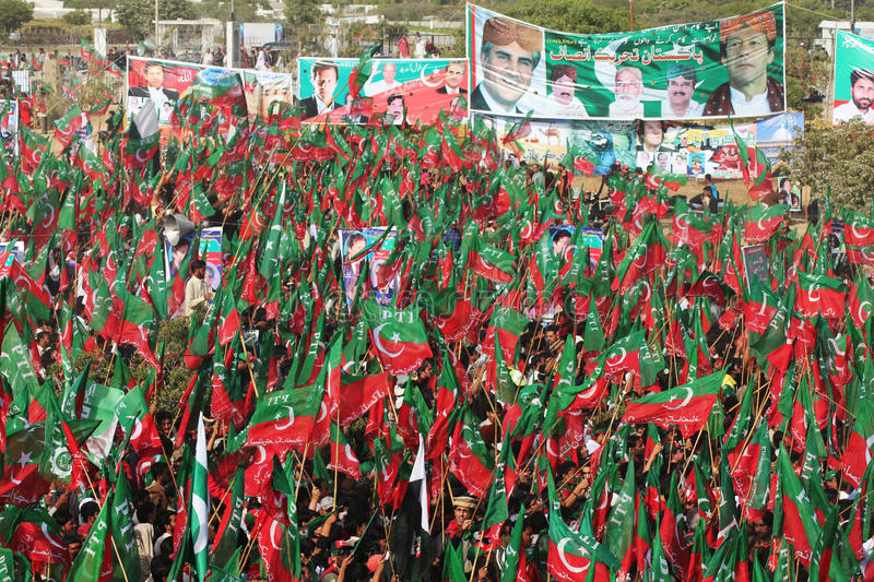 PTI Supporters Rally for Change in Pakistan. Hundreds of Thousands of People gather in Karachi, Pakistan near the tomb of the founder of Pakistan, Mohammad Ali stock photo