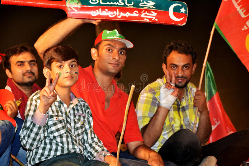 PTI youth and kids at Raiwind March – 30 September 2016. This photo was taken during Raiwind March on 30 September 2016. Kids and Youth making victory royalty free stock photo