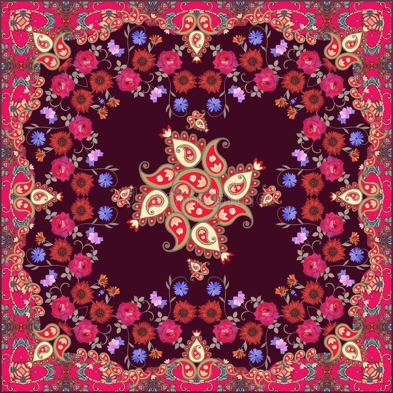 Ptint étnico del pañuelo con Paisley y las flores hermosas Motivos marroquíes ilustración del vector