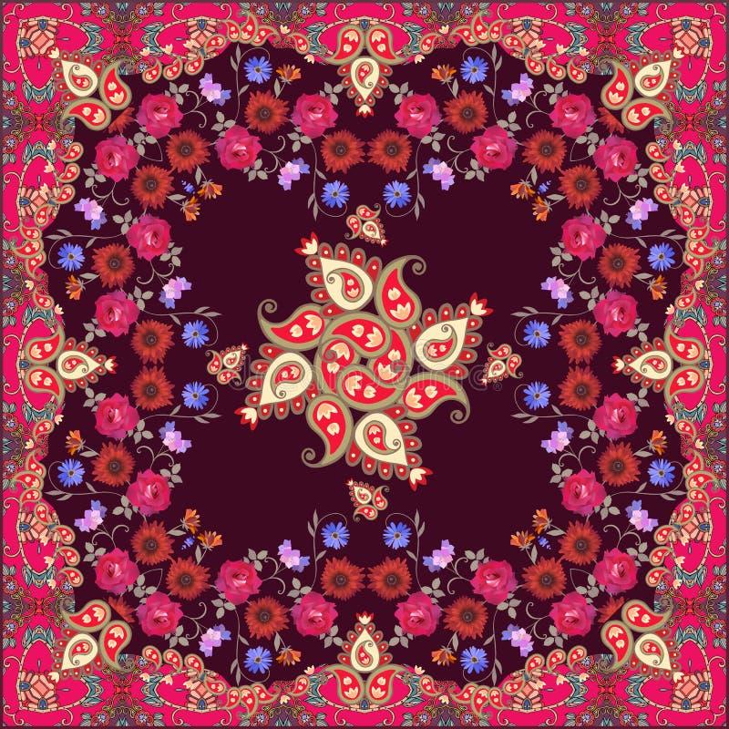 Ptint etnico della bandana con Paisley ed i bei fiori Motivi marocchini illustrazione vettoriale