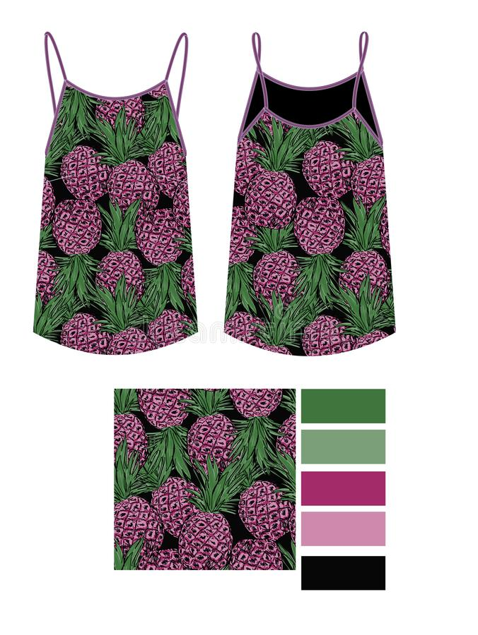 Ptlrinted de manier technische schets van in ananassen op zwarte achtergrond stock illustratie