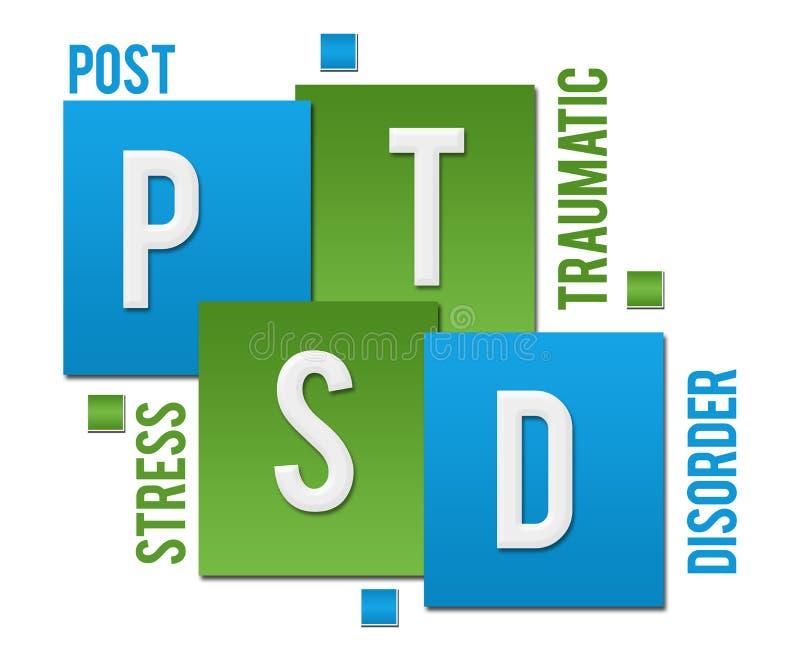 PTSD - Μετα τραυματικό πίεσης κείμενο τετραγώνων αναταραχής πράσινο μπλε διανυσματική απεικόνιση
