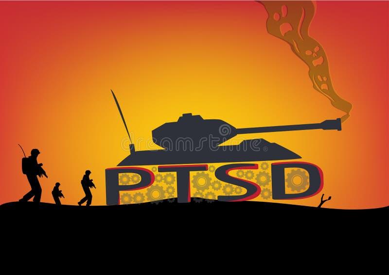 PTSD-begrepp Slagfältplats med behållare och soldater royaltyfri illustrationer