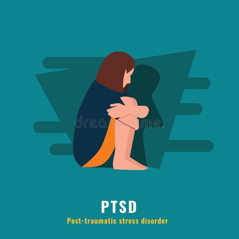 PTSD Desorden traum?tico de la tensi?n de los posts stock de ilustración