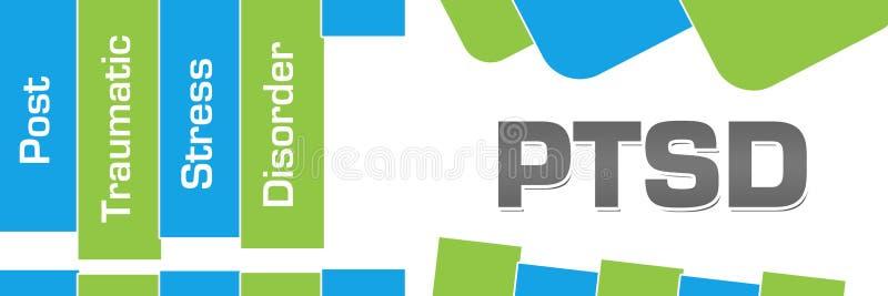 PTSD - Do verde traumático da desordem do esforço do cargo formas abstratas azuis horizontais ilustração royalty free