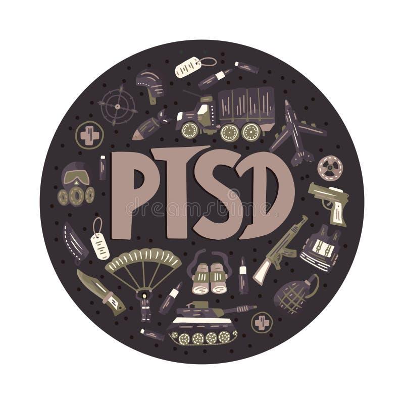 PTSD Illustration traumatique de vecteur de désordre d'effort de courrier illustration stock