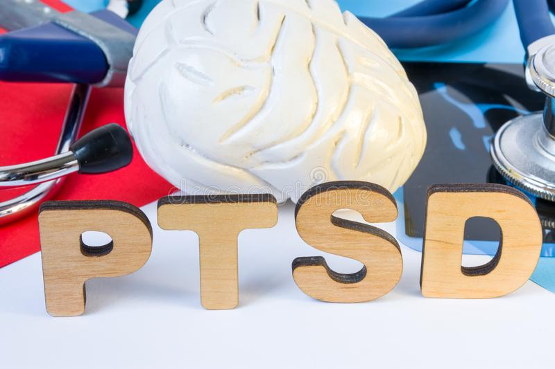 PTSD Medical abbreviation or acronym of post traumatic stress syndrome, mental disorder caused by traumatic events. Word PTSD near stock image