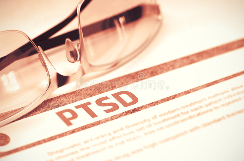 PTSD - Printed Diagnosis on Red Background. 3D Illustration. Diagnosis - PTSD - Posttraumatic Stress Disorder. Medicine Concept with Blurred Text and Eyeglasses royalty free stock photo