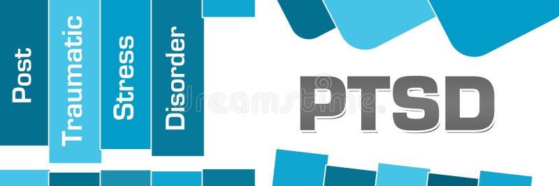 PTSD - Quadrati arrotondati post - traumatici delle bande di blu di disordine di sforzo illustrazione vettoriale