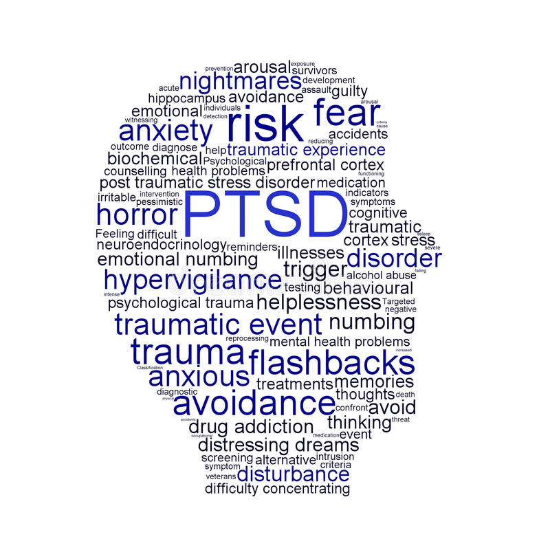 PTSD symbol isolated on white background. Anxiety disorder symbol conceptual design stock illustration