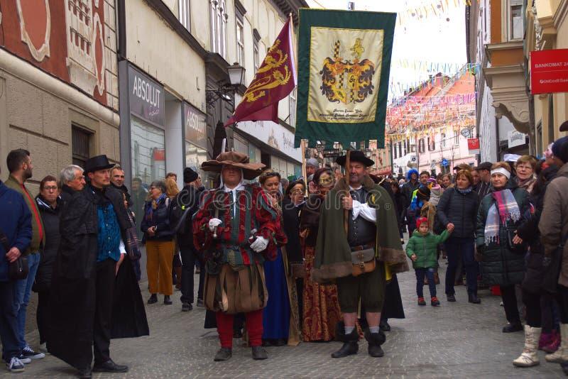 Ptuj Carnaval 2019, Slovenië stock foto