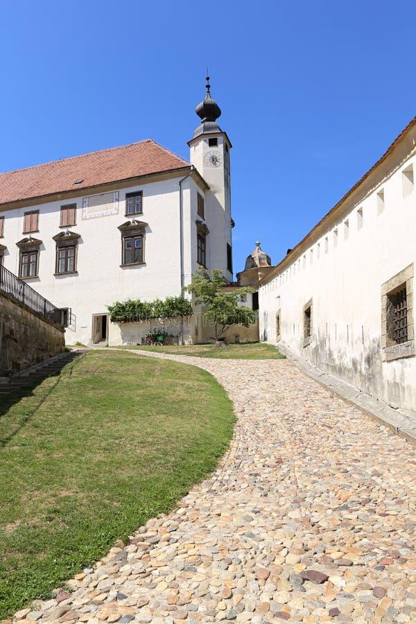 Ptuj castle main courtyard road stock photo