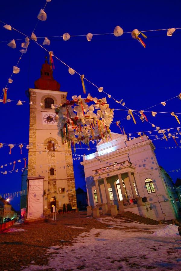 Ptuj di notte a tempo di carnevale immagini stock libere da diritti