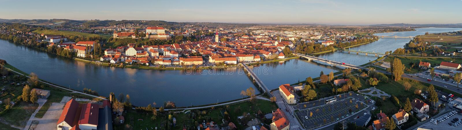 Panorama aerial view of Ptuj in northeastern Slovenia. stock images