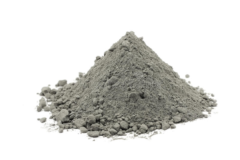 Puñado de polvo gris del cemento imagenes de archivo