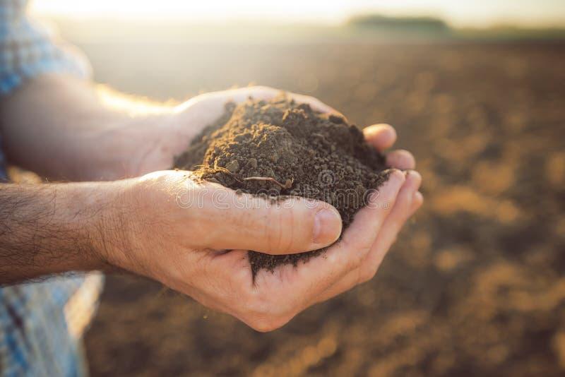 Puñado de suelo arable en manos del granjero responsable fotos de archivo