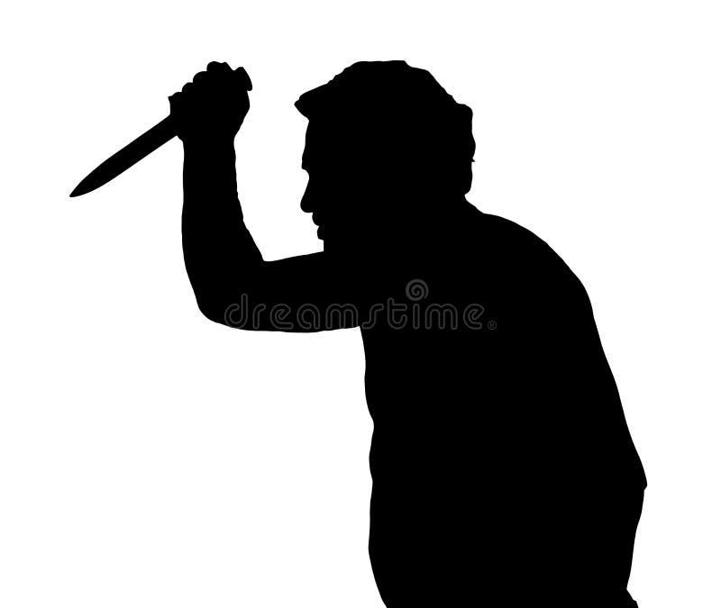 Puñalada europea de la silueta del hombre con el cuchillo libre illustration