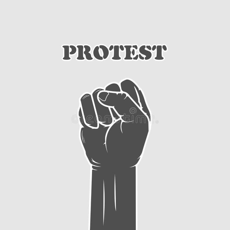 Puño afianzado - resistencia y huelga stock de ilustración