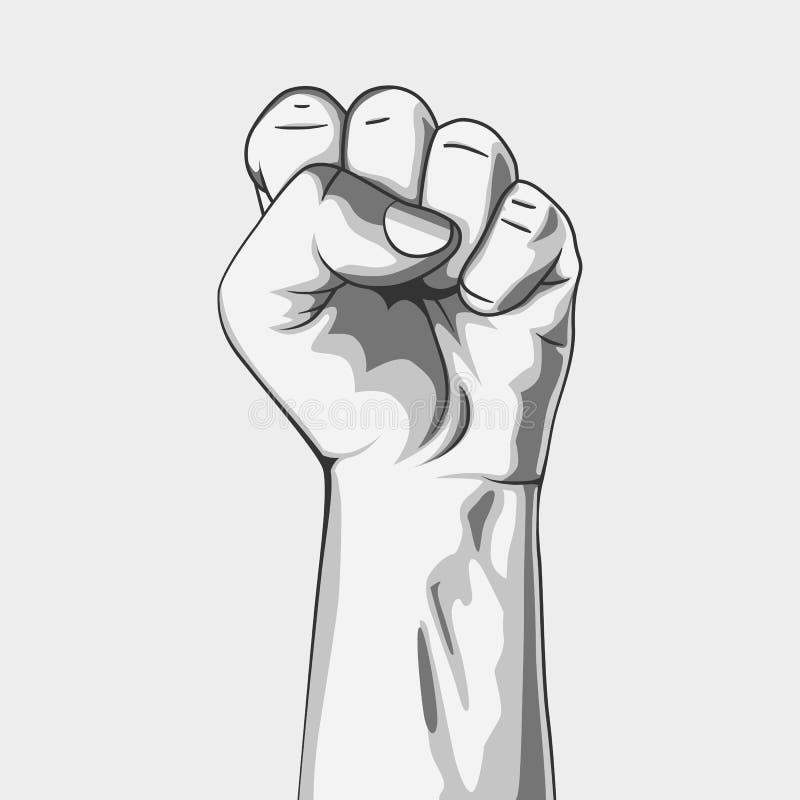 Puño apretado blanco y negro libre illustration