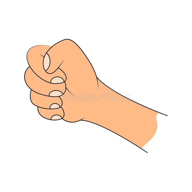 Puño apretado, llevando a cabo diseño del vector de la mano aislado en blanco libre illustration