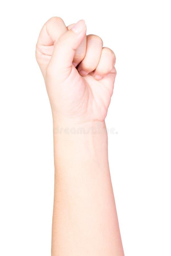 Puño de la mano de la mujer foto de archivo libre de regalías