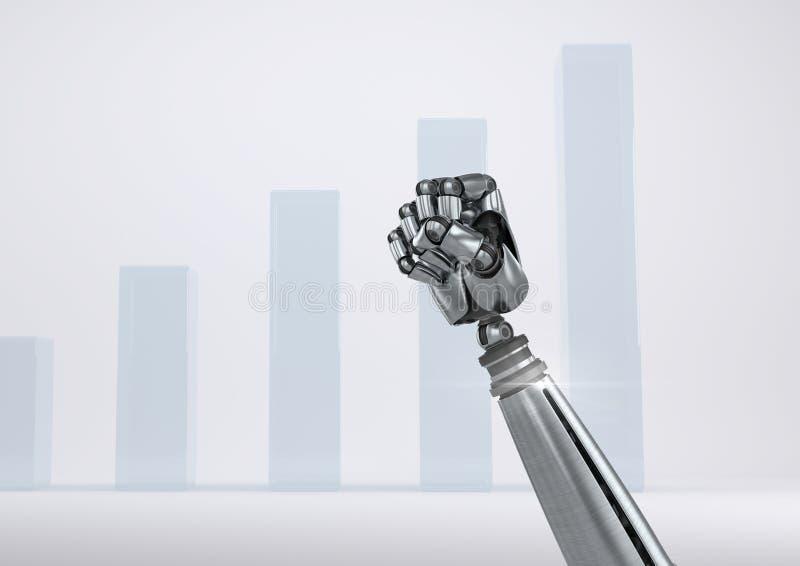 Puño de la mano del robot de Android con el fondo ampliado brillante de la carta ilustración del vector