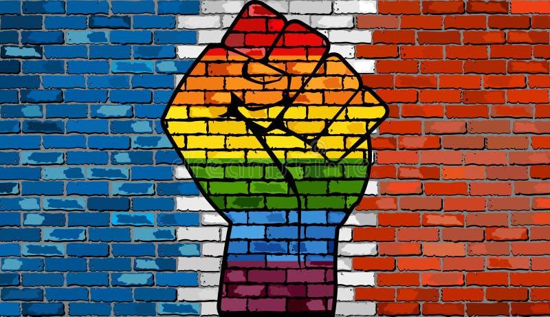 Puño de la protesta de LGBT en una bandera de la pared de ladrillo de Francia libre illustration