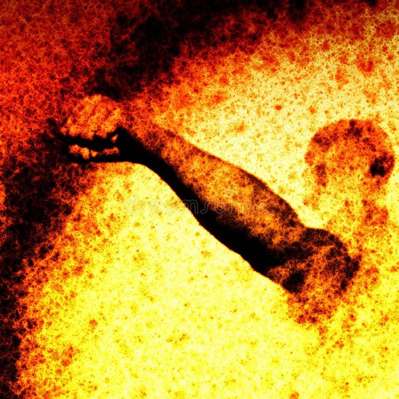 Puño en llamas stock de ilustración