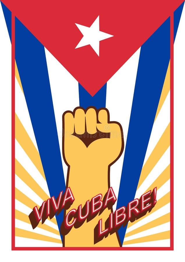 Puño encima del poder en el contexto de la bandera ¡Libre de Viva Cuba! ¡Vive de largo la Cuba libre! Lengua de España Cartel del stock de ilustración